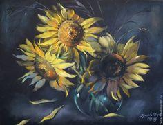 Купить Подсолнухи. - желтый, черный, подсолнухи, букет цветов, цветы, натюрморт с цветами, ваза с цветами