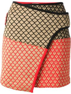 Red and gold-tone wool blend skirt from Kenzo featuring a wrap over design with a black trim, an oriental pattern and a straight hem.