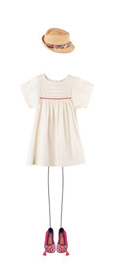 Bonpoint Summer 2015: Aissa dress Ecru Hat Poppy Liberty Meher Kakalia for Bonpoint Geranium
