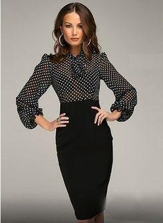 Polyester Polka Dot Long Sleeve Knee-Length Elegant Dresses
