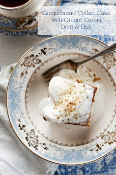 Gingerbread Coffee Cake with Ginger Cream - Dine and Dish