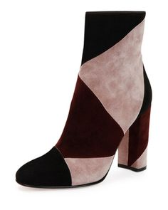 LOVE....NEED!! Gianvito Rossi	 Patchwork Suede High-Heel Boot from @neimanmarcus.  #dinamackneyfave #folklorica #boots