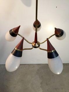 Stunning mid-century candelier in teak and brass by RetroDeluxDk