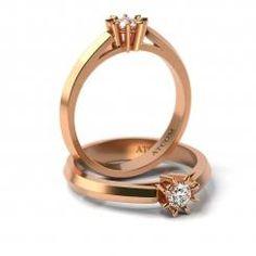 Inel de logodna din aur roz cu diamant Cristian