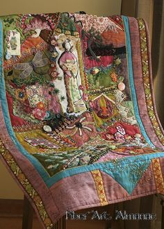 The composition of Nancy Eha's 'bead physics' is rich in detail and layers, inviting the viewer to explore the story she tells. Crazy Quilt Stitches, Crazy Quilt Blocks, Crazy Quilting, Textile Fiber Art, Textile Artists, Fiber Art Quilts, Embroidered Quilts, Crazy Patchwork, Principles Of Design