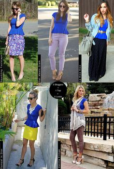 Five Bloggers style a top five different ways #style #fashion #peplum - Love it with the yellow skirt