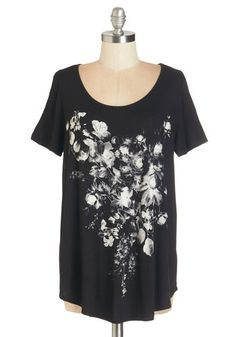 Grab Your Sketchpad Top - Jersey, Knit, Mid-length, Black, Grey, Floral, Casual, Short Sleeves, Scoop, Black, Short Sleeve, White, Sheer