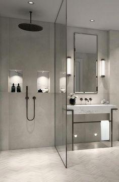 Modern, minimalist bathroom with walk-in shower .- Modernes, minimalistisches Badezimmer mit ebenerdiger Dusche – just luxux Modern, minimalist bathroom with walk-in shower - Modern Bathroom Design, Bathroom Interior Design, Bath Design, Spa Design, Bathroom Designs, Modern Luxury Bathroom, Modern Bathroom Lighting, Designs For Small Bathrooms, Apartment Bathroom Design