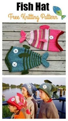 Fish Hat Free Knitting Pattern This cute and funny fish hat is perfect for anyone who loves fishing or just loves fish overall! Funny and perfect for practical use as well. Loom Knit Hat, Loom Knitting, Knitting Patterns Free, Free Knitting, Baby Knitting, Knitted Hats, Crochet Patterns, Crochet Hats, Beginner Knitting