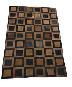 Handcrafted Egyptian Patchwork Cowhide Leather Rug Carpet 5.9' * 3.9' feet #Handmade #RusticPrimitive