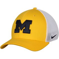 buy online 73a76 d73ef Men s Nike Maize White Michigan Wolverines AeroBill Classic 99 Mesh Back  Flex Hat