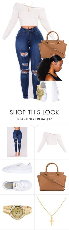 """""""Untitled #376"""" by muvaaliyah ❤ liked on Polyvore featuring Puma, MICHAEL Michael Kors, Rolex and Sterling Essentials"""