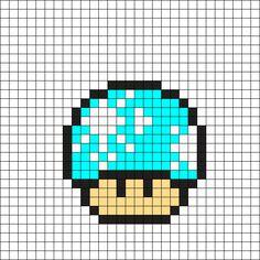 Snowflake Mushroom Perler Bead Pattern