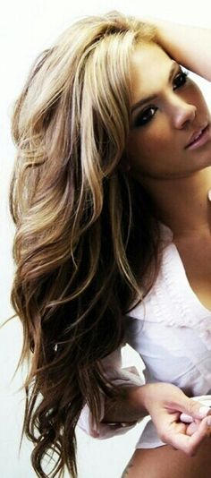 Blonde highlights with brown underneath - this is the way I want to be able to style my hair