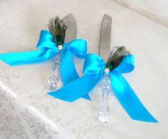 Peacock Theme Wedding Cake Serving Set Tiffany Blue by sljbridal, $30.00