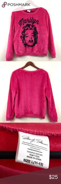Marilyn Monroe Soft Hot Pink Sweater This is an L in kids size so probably a M in adult so listing as such. Would look super cute in a xs-s too though. :)  If unsure please ask for measurements, etc! 🚫No trades.   🚫No lowball offers (more than 15%-20% off).   🚫If an item is not modeled, try-on is not a possibility.  ✅ I ship same/next day! Excluding holidays and weather delays.  ✅ Feel free to ask questions!  ✅ I try to price things fairly. If you make offers, please try to be fair as…