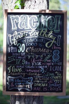 first birthday fun-facts chalkboard