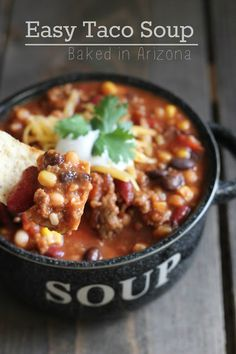 Taco Soup - (A family favorite! Kids like. I used can of diced tomatoes and can of Rotel, can of undrained chili beans, can of black beans, tomato soup vs tomato sauce. Slow Cooker Recipes, Crockpot Recipes, Soup Recipes, Cooking Recipes, Yummy Recipes, Recipies, Dinner Recipes, Healthy Recipes, I Love Food