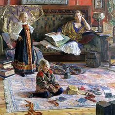 Ivan Glazunov, family interior painting