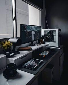 40 Cool And Masculine Home Office Ideas For Men – Office Design 2020 Gaming Room Setup, Pc Setup, Desk Setup, Home Office Setup, Home Office Design, Office Ideas, Men Office, Bedroom Setup, Workspace Inspiration