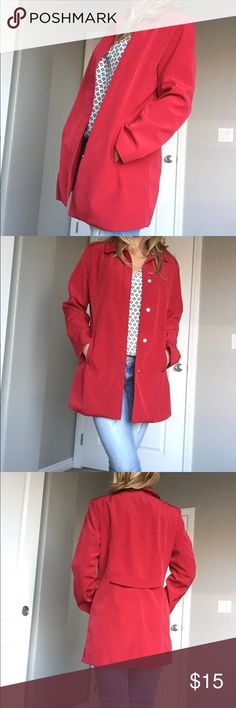 "✨Red Coat. 1/2 trench coat. Red 1/2 trench coat. Measures about 31"" in length. Can be worn for every day use or as a dress up coat. Complete with pockets and snap closures. Environment is smoke and pet free 🌈🌺 Only the jacket is for sale in this listing. Merona Jackets & Coats Trench Coats"