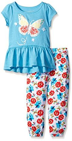 Kids Headquarters Little Girls Toddler Blue Single Dye Jersey Top and Printed Challis Blue 3T ** For more information, visit image link.Note:It is affiliate link to Amazon.
