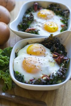 Eggs baked with kale & bacon -- no need for the cream! And add some herbs de provence (or whatever fresh herbs you have around!)