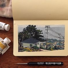 Mike Dutton - gouache in Moleskine with da Vinci travel brush