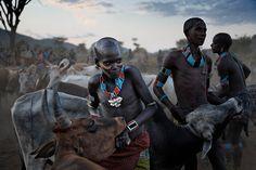 Hamar tribesmen prepare for a bull jumping initiation ritual.