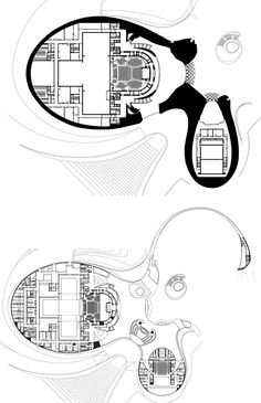 Harbin_Opera_House_MAD_Hufton_Crow_FF_and_GF_Plans Opera House Architecture, Chinese Architecture, Futuristic Architecture, Architecture Plan, Hadid Architect, Architect Drawing, Auditorium Design, Theater Plan, Residential Complex