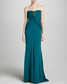 Beaded Jersey Strapless Gown, Teal by Badgley Mischka at Neiman Marcus.