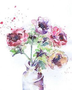 Anemones in a Pot Watercolor by Michele Wallington | Artfinder