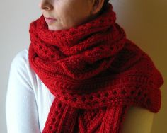 Cabled Scarf Knitted in Red Merino Blend Wool. $120.00, via Etsy.