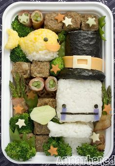 Bento box. Make sushi for the top of the hat.