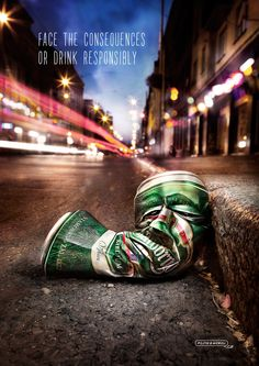 Heineken Beer: Face the consequences Ads Creative, Creative Posters, Creative Advertising, Print Advertising, Advertising Campaign, Creative Director, Street Marketing, Guerilla Marketing, Etiquette Vintage