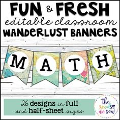If you're looking for an easy way to spruce up your travel-themed classroom with an adventurous, wanderlust-look, here you go! Add that perfect touch to your classroom quickly with these editable banners. Use these editable pages to create wanderlust-themed bulletin board letters for