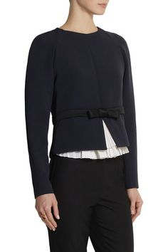 Navy crepe Black satin waistband and bow, front slit, white pleated taffeta underlay Concealed zip fastening along back Fabric1: 100% viscose; fabric2: 57% acetate, 43% viscose; trim: 74% silk, 26% wool Dry clean