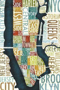 Manhattan Map - Canvas Print & Canvas Art - Photowall