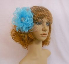 Torquoise Chiffon Bridal Fascinator With Birdcage Veil by IrmasElegantBoutique.Etsy.com
