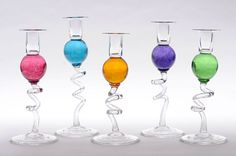 Howarth Gallery - Twisted Glass Candlesticks by Bob Crooks - £110 per pair.