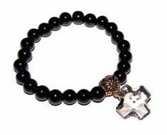 Bransoletka Gothica: Black Diamond Cross Swarovski #Swarovski #jewelry #bizuteria