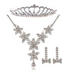 3 Piece Silver Wedding Bridal Jewelry Set Necklace Tiara Earrings Online SKU-10801068