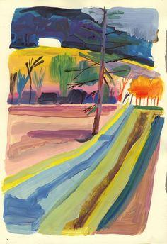 Yann Kebbi: hold the line Art Inspo, Kunst Inspo, Painting Inspiration, Landscape Drawings, Abstract Landscape, Landscape Paintings, Art Drawings, Art And Illustration, Watercolor Illustration