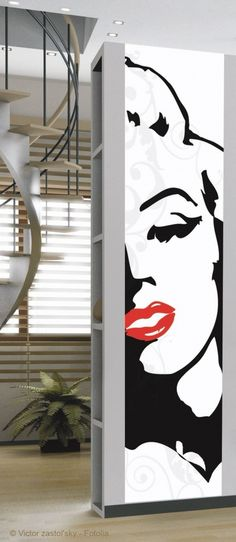 Marilyn Sticker (146007) - Creative Wall Art Stickers - A bold contemporary large scale sticker showing a stylised woman's face – Marilyn Monroe in bold black with red lips.  Sticker is 60cm wide and 240cm high.  SAMPLES NOT AVAILABLE.