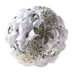 White Advanced Customization Romantic Bride Wedding Holding Bouquet Roses with Diamond Pearl Ribbon Valentines Day Bouquet Confession *** Details can be found by clicking on the image.