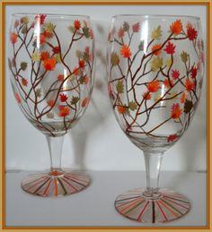 Autumn Wedding Wine Glasses  Fall Wedding Ideas by DreamAndCraft, $20.00