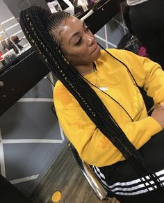 39 Latest Afro Crochet Braids Hairstyles To Copy In 2019 Braided Ponytail Hairstyles, Braided Hairstyles For Black Women, African Braids Hairstyles, My Hairstyle, Weave Hairstyles, Girl Hairstyles, Feed In Braids Ponytail, Cornrow Ponytail, Trendy Hairstyles
