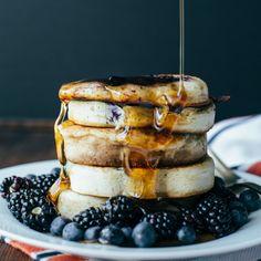 These Jack O' Lantern berry buttermilk pancakes are definitely a Halloween treat!
