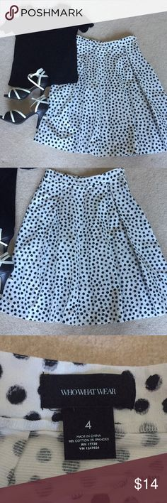 Who What Wear White and Black Polka Dot Midi Skirt Somehow this piece looks modern and vintage at the same time! It's effortlessly stylish and easy to style. It's in great used condition with no flaws to report. Shirt in picture also available in my closet. Comment with any questions—and don't forget the bundle discount! Who What Wear Skirts Midi