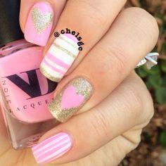 ND Lacquers 'Camellia'. Stripes, heart nails. Valentine's day Nail art. Nail design. Polishes.  Polish. Polished.